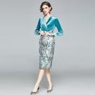 --實拍 新款名媛氣質西裝領絲絨包臀裙 高端提花拼接連衣裙