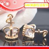 銀鏡DIY 黃銅24K包金DIY配件/十字架簍空立體皇冠吊墜B(內嵌晶閃亮水鑽)/適手作蠶絲蠟線/幸運繩