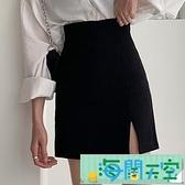 短裙 黑色高腰开叉半身裙女春款新款a字短裙西装包臀裙子设计感