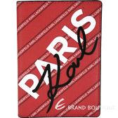 KKARL LAGERFELD K/CITY 字母條紋塗層材質護照夾(紅色) 1920168-54