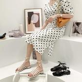 網紅涼鞋女仙女風夏季新款時尚套趾方頭系帶粗跟羅馬鞋潮 - 風尚3C