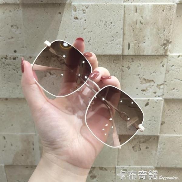 方框大臉顯瘦墨鏡新款潮男女韓版街拍ins圓臉茶色開車太陽鏡 卡布奇諾