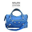 【台中米蘭站】BALENCIAGA 巴黎世家 揉製羊皮  銀大釦 CITY 肩背包 (藍)