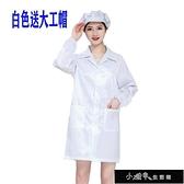 (送帽)防靜電衣大褂無塵服防塵服無塵衣電子工廠服條紋藍色白【快速出貨】