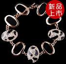歐美飾品 復古黑白斑紋滿鑽鏤空手鏈 手鐲 【B3046】