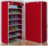 【八層鞋架】DIY 組裝8 層7 格置物架鞋櫃附防塵罩收納置物架防塵套
