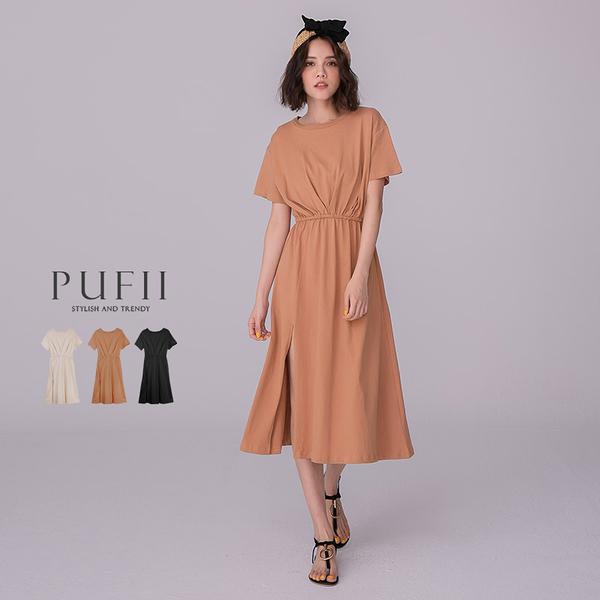 限量現貨◆PUFII-洋裝 簡約前開衩縮腰連身長洋裝-0609 現+預 夏【CP18678】