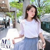 香氣美人透氣棉冰薄絲短袖薔薇刺繡上衣104626#現貨 預購(白色)