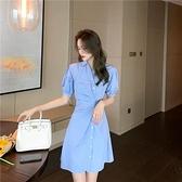 小洋裝 連身裙設計感小眾中長款襯衫裙子小清新可鹽可甜氣質顯瘦連身裙女夏T624快時尚