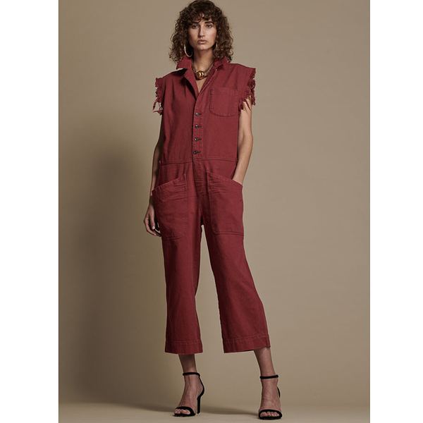 ONETEASPOON BORDEAUX ROLLIN SAFARI OVERALLS 無袖連身長褲-紅(女)