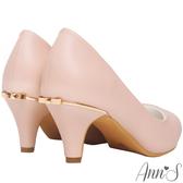 Ann'S細膩羊紋後跟金立體小蝴蝶尖頭低跟包鞋-粉