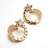 耳環 玫瑰金 925純銀鑲鑽-潮流星星生日情人節禮物女飾品2色73gs95【時尚巴黎】