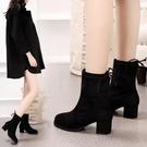 2020新款短靴女秋冬粗跟彈力靴女靴高跟圓頭中筒靴瘦瘦靴馬丁靴子 小山好物