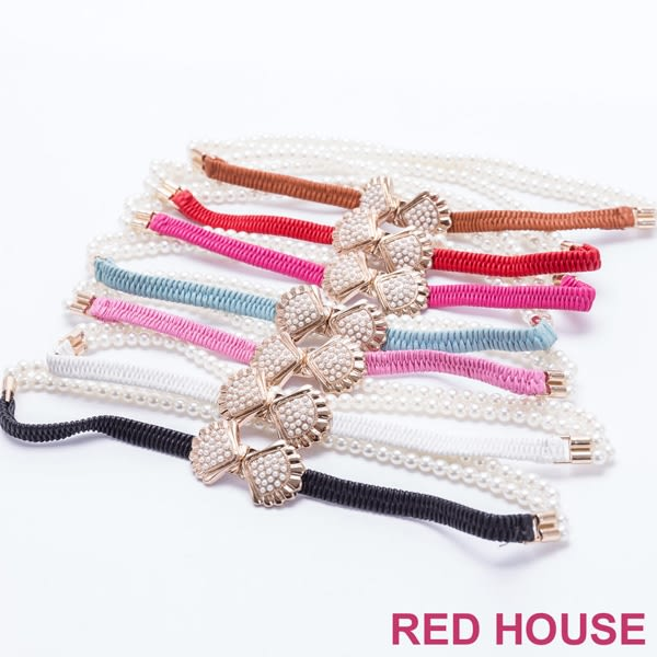 【RED HOUSE 蕾赫斯】珍珠貝殼彈性腰帶(共七色)
