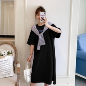 洋裝連身裙~短袖連身裙~大碼女裝胖MM寬松顯瘦條紋拼接純棉針織連身裙R07愛尚布衣