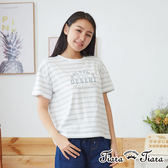 【Tiara Tiara】網路獨家 英字印象風短袖上衣(灰條紋/深灰/卡其)