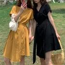 夏季2020新款輕熟風不規則設計感V領收腰顯瘦氣質A字連身裙女神范