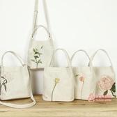 帆布包 原創單肩包棉麻文藝復古小清新花朵森系帆布斜背水桶小包手提女包 5色