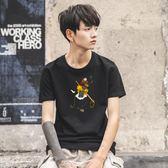 短袖T恤沙奢短袖圓領寬鬆衣服夏季韓版潮流純棉大碼體恤男裝 【四月新品】