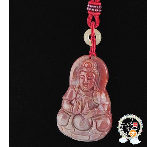 善緣觀音菩薩{七彩玉/印度瑪瑙}項鍊 【十方佛教文物】