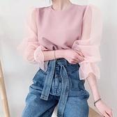 正韓春裝新款袖透視網紗感襯衫 花漾小姐【預購】