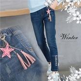 (大童款-女)星星吊飾拼字刷破彈性牛仔褲(300197)【水娃娃時尚童裝】