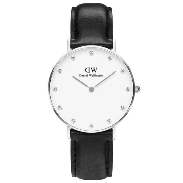 Daniel Wellington DW 手錶 34mm銀框 Classy 爵士黑真皮鑽石錶