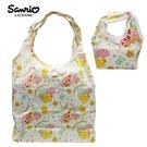白色款【日本正版】雙子星 摺疊 購物袋 環保袋 手提袋 防潑水 KIKILALA 三麗鷗 Sanrio - 466978
