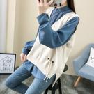 韓版寬鬆大V領針織背心外穿春秋季2019新款毛衣無袖背心外搭女裝