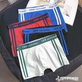內褲 男士內褲青年純棉條紋中腰運動內褲透氣平角學生舒適寬鬆短褲 Cocoa