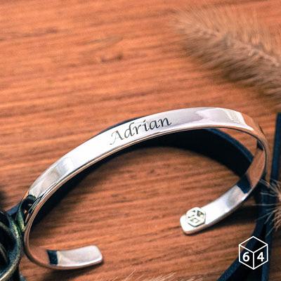 訂製手環/手鐲  刻字姓名手環(大) 英文 文字 999純銀C型手環-64DESIGN