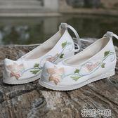 古風鞋子女漢服鞋弓鞋翹頭古裝鞋中國風平跟內增高坡跟軟底繡花鞋 花樣年華