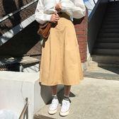 (全館一件免運)DE SHOP~(D-1652)學院風純色半身裙百搭鬆緊高腰學生中長A字裙
