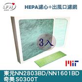 三入超值組合包/HEPA濾心+出風口抗菌濾網/NN2803BD、NN1601BD、S0300T清淨機適用
