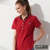 【JEEP】女裝 雙色領文字刺繡短袖POLO衫 (紅色)