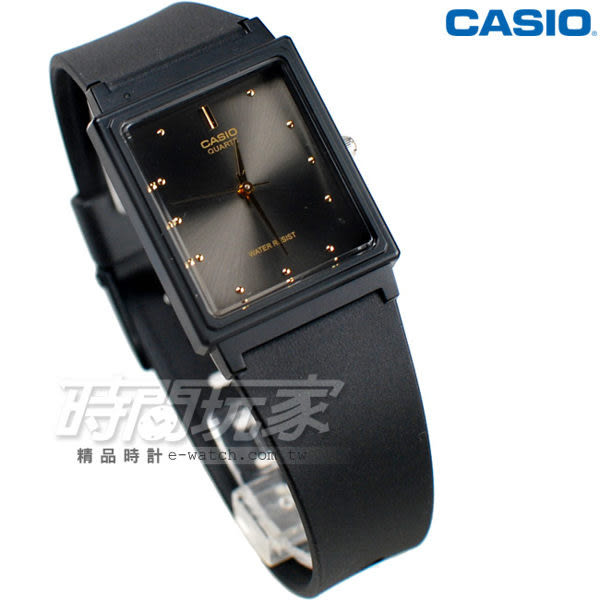 CASIO卡西歐 MQ-38-1A 撞色簡約方錶 橡膠錶帶 黑x深灰色 MQ-38-1ADF 防水手錶 指針錶 兒童 女錶