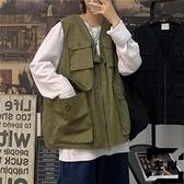 工裝馬甲男日系多口袋無袖坎肩背心嘻哈機能外套【左岸男裝】