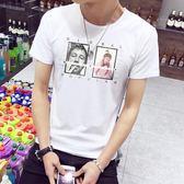 短袖T恤 夏季男印花修身韓版潮男裝休閒上衣服《印象精品》t45