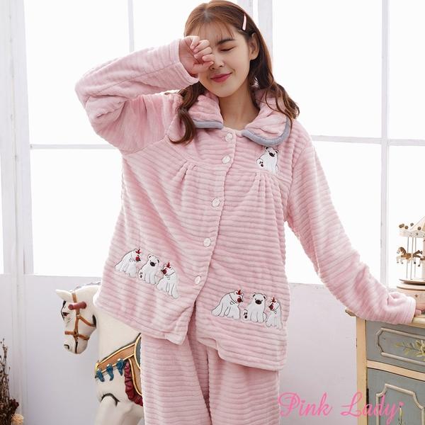 保暖法蘭絨長袖成套睡衣 呆萌小熊 272(粉)-Pink Lady