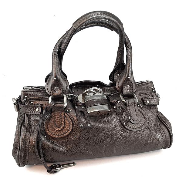 【奢華時尚】秒殺推薦!Chloe 金屬褐色粒面牛皮銀色Paddington鎖頭包(八成新)#23699