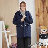 【Tiara Tiara】百貨同步aw 連帽式舖棉牛角扣外套(藍/灰)