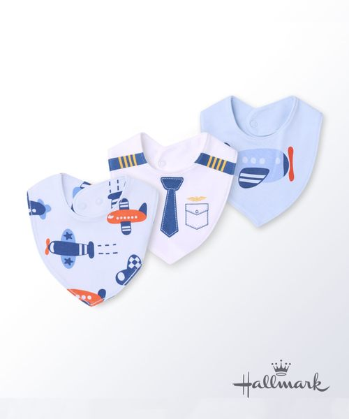 Hallmark Babies飛行夢男嬰純棉卡通三角口水巾/圍兜HG3-N01-A4-AB-MB