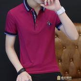 絲光棉夏季短袖男士T恤寬鬆翻領POLO衫棉質潮流有領男裝衣服一件免運