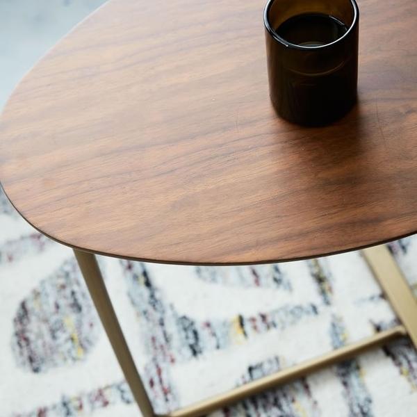 茶几邊桌 創意簡約橢圓形茶幾 移動實木鐵藝沙發角幾邊幾 懶人床頭閱讀桌 快速出貨