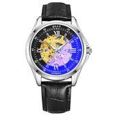 手錶男士機械錶全自動新款防水陀飛輪男錶皮帶鏤空學生運動錶