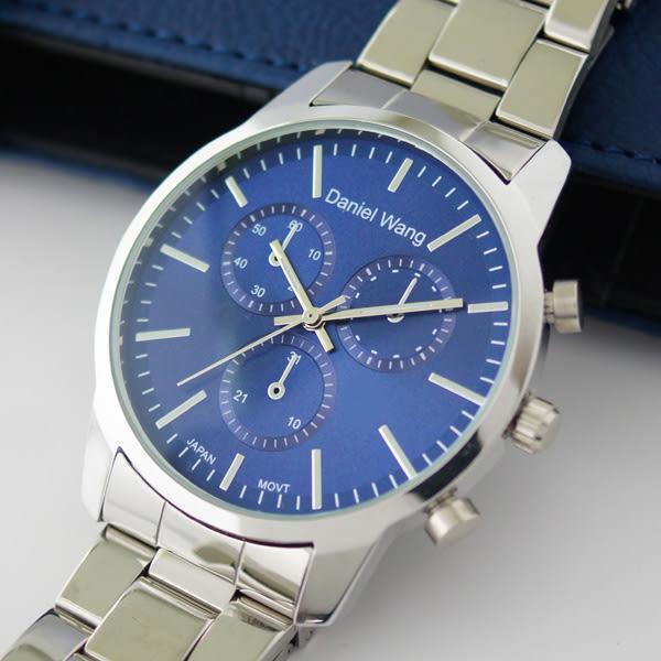 Daniel Wang 3136-S 霸氣大錶面經典仿三眼石英銀框金屬男錶 - 藍面銀針