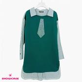 【SHOWCASE】休閒襯衫領領帶燙鑽造型長版上衣(綠)