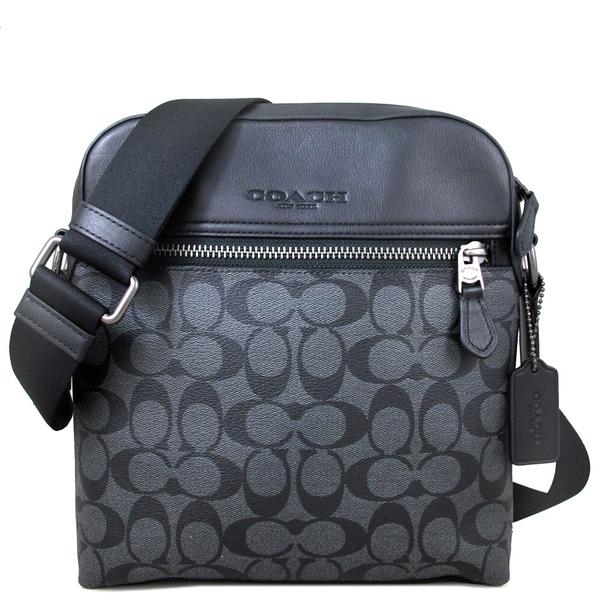 COACH 防刮皮革LOGO織紋直立式拉鍊飛行包 斜背包(黑灰色)-73336