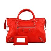 【BALENCIAGA】銀釦 CITY 機車包_展示品 (紅色 RED)  281770 D94JN 6575(OUTLET)