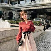 韓版 女裝 2018 新款 長袖 寬鬆 針織衫 圓領 燈籠袖 毛衣